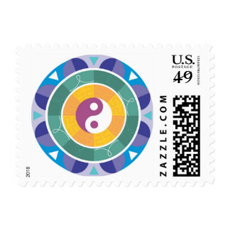 Mandala Style Yin and Yang Stamp