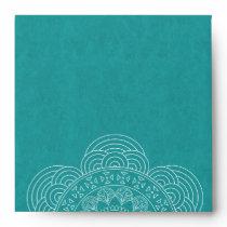 Mandala Summer Garden Teal Return Address Envelope