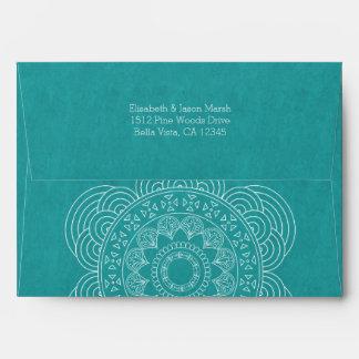 Mandala Summer Garden Wedding Chic Teal Green Envelope