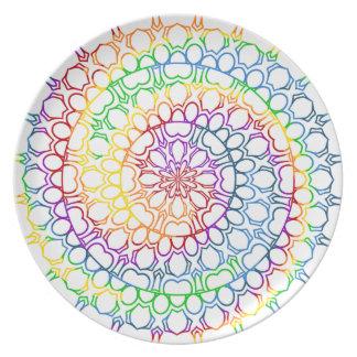 Mandala Swirled with Circles and Rainbow Colors Melamine Plate