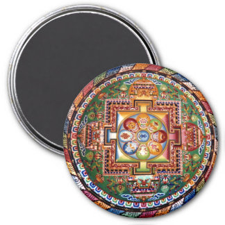 Mandala Tantric tibetana del Buddhism del vintage Imán Redondo 7 Cm