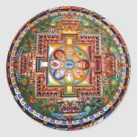 Mandala Tantric tibetana del Buddhism del vintage Etiquetas Redondas