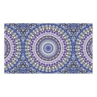 Mandala tribal del estilo en púrpura y azul tarjetas de visita