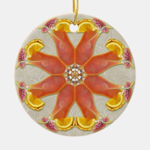 Mandala tropical de la bebida ornaments para arbol de navidad