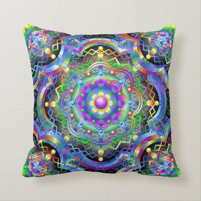Mandala Universe Colors Throw Pillow