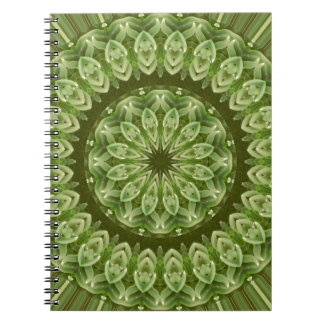 Mandala verde 2 de la anémona libros de apuntes con espiral