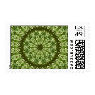 Mandala verde 2 de la anémona timbre postal