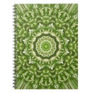 Mandala verde 5 de la anémona libros de apuntes con espiral