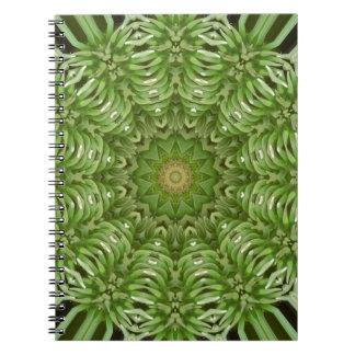 Mandala verde 6 de la anémona libros de apuntes con espiral