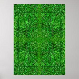 Mandala verde clara póster