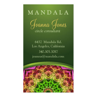 Mandala verde de la flor tarjeta de negocio