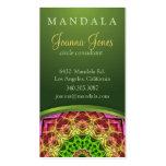 Mandala verde de la flor tarjetas de visita
