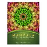 Mandala verde de la flor - verde postal