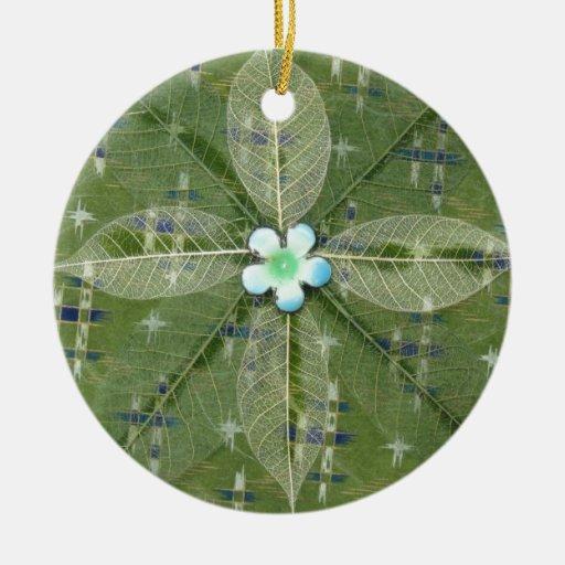 Mandala verde de la hoja - collage adornos