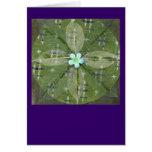 Mandala verde de la hoja - collage felicitaciones
