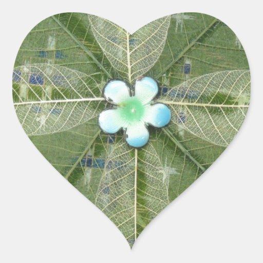 Mandala verde de la hoja - collage pegatina en forma de corazón