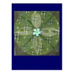 Mandala verde de la hoja - collage postales