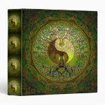"""Mandala verde de Yin Yang con el árbol de la vida Carpeta 1 1/2"""""""