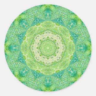 Mandala verde del fractal de la acuarela pegatinas redondas