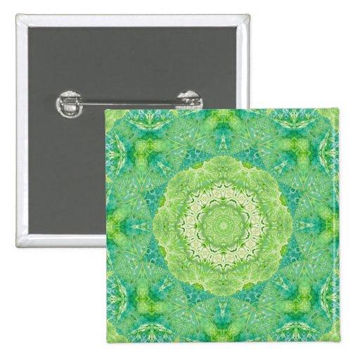 Mandala verde del fractal de la acuarela pins