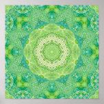 Mandala verde del fractal de la acuarela poster