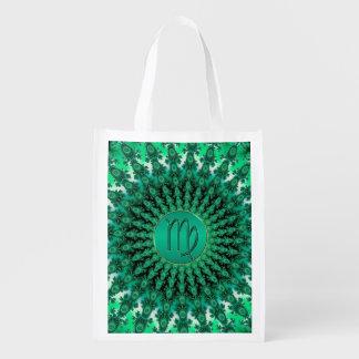 Mandala verde del fractal del virgo de la muestra bolsas para la compra