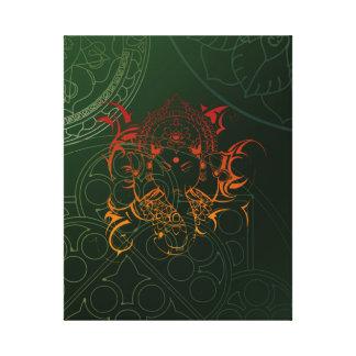 Mandala verde gred naranja de Ganesha del elefante Impresión En Lona