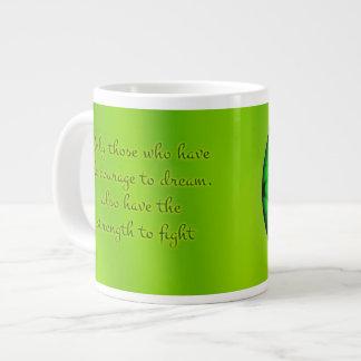 Mandala verde orgánica taza grande