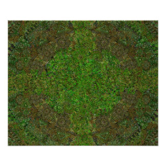 Mandala verde oscuro póster