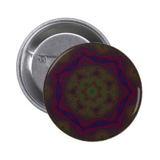 Mandala verde, roja y azul del caleidoscopio pins