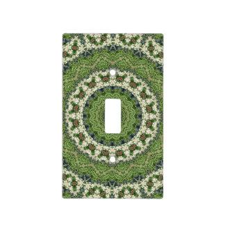 Mandala verde y blanca del mercado de los tapa para interruptor