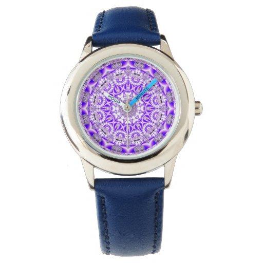 Mandala violeta del cordón, púrpura violeta relojes