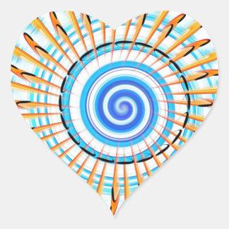 Mandala Waterwave Pegatina En Forma De Corazón