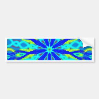 Mandala With Blue Aqua And Yellow Bumper Sticker