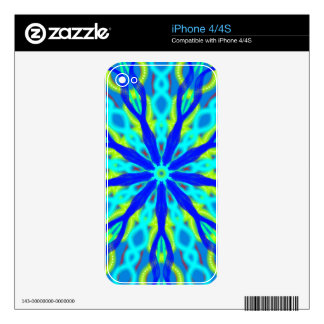 Mandala With Blue Aqua And Yellow iPhone 4 Decal