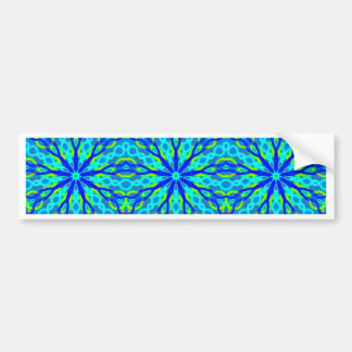Mandala With Blue Aqua And Yellow - Tiled Bumper Sticker