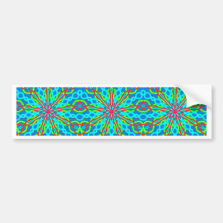 Mandala With Red Aqua And Yellow - Tiled Bumper Sticker