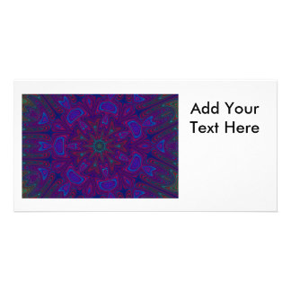 Mandala with Stars and Hearts in Purple, Blue, Red Card