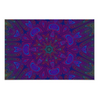 Mandala with Stars and Hearts in Purple, Blue, Red Photo Print