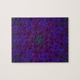 Mandala with Stars and Hearts in Purple, Blue, Red Puzzles