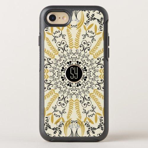 Mandala yellow and black with monogram Phone Case