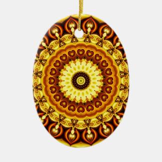 Mandala yellow Hearts Ceramic Ornament