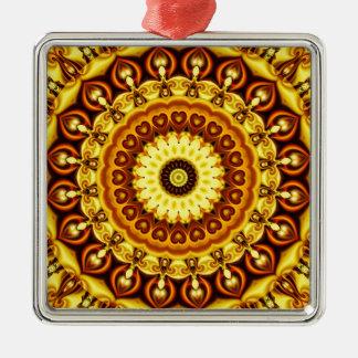 Mandala yellow Hearts Metal Ornament