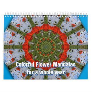 Mandalas coloridas de la flor por un año entero calendarios de pared