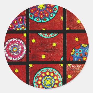 Mandalas en el movimiento etiquetas redondas