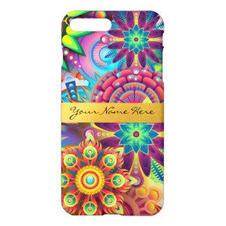 Mandalas florales enrrolladas personalizadas de la funda para iPhone 7 plus