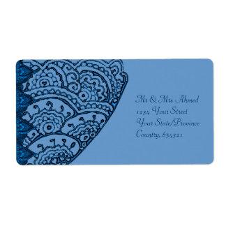 Mandalas magníficas de Mehndi (azules) Etiqueta De Envío