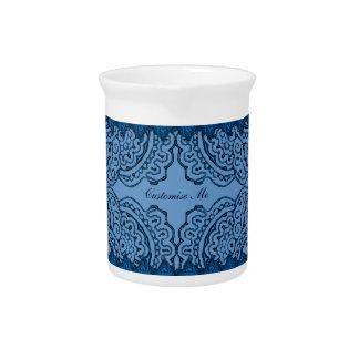 Mandalas magníficas de Mehndi (azules) Jarra Para Bebida
