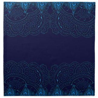 Mandalas magníficas de Mehndi (azules) Servilletas Imprimidas