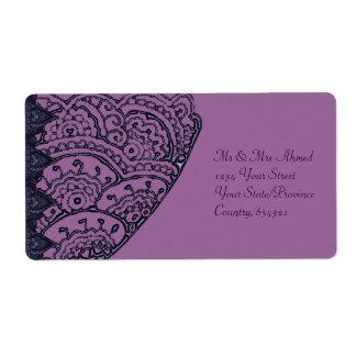 Mandalas magníficas de Mehndi (púrpuras) Etiqueta De Envío